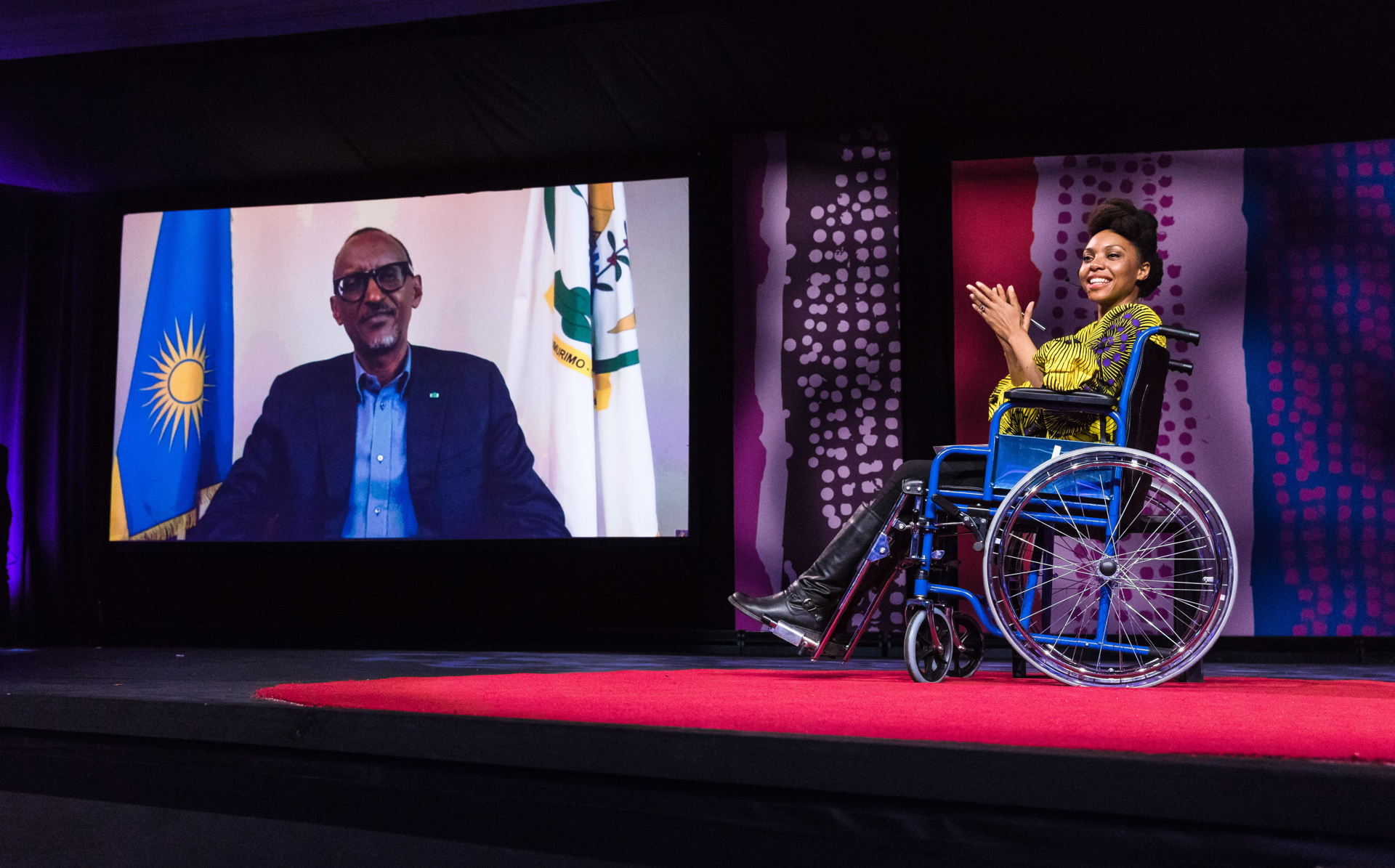 Paul Kagame, President of Rwanda, interviewed by Vimbayi Kajese via live video link at TEDGlobal 2017 - Builders, Truth Tellers, Catalysts - August 27-30, 2017, Arusha, Tanzania. Photo: Ryan Lash / TED